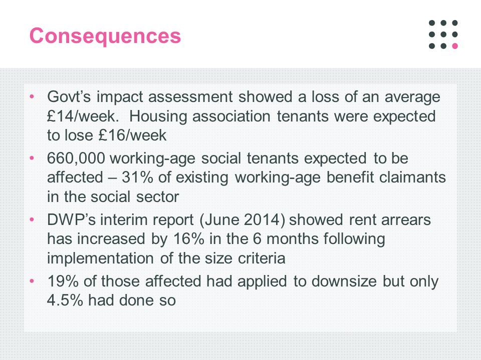 Consequences Govt's impact assessment showed a loss of an average £14/week.