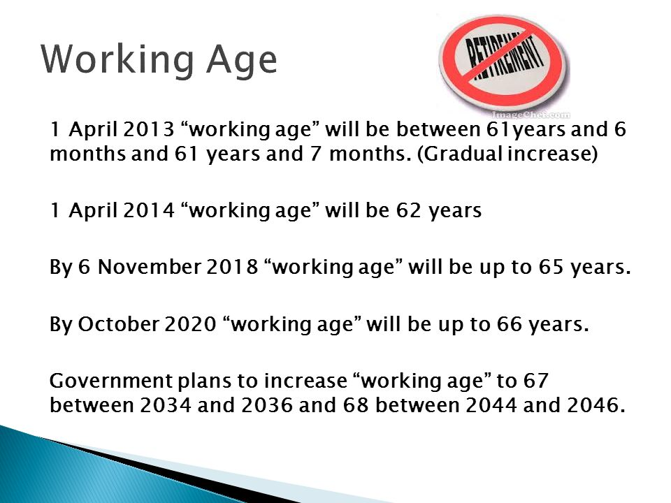 1 April 2013 working age will be between 61years and 6 months and 61 years and 7 months.