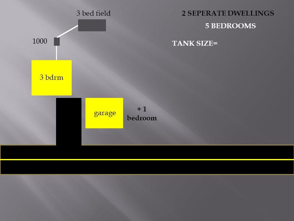 3 bdrm garage 3 bed field 1000 + 1 bedroom 2 SEPERATE DWELLINGS 5 BEDROOMS TANK SIZE=