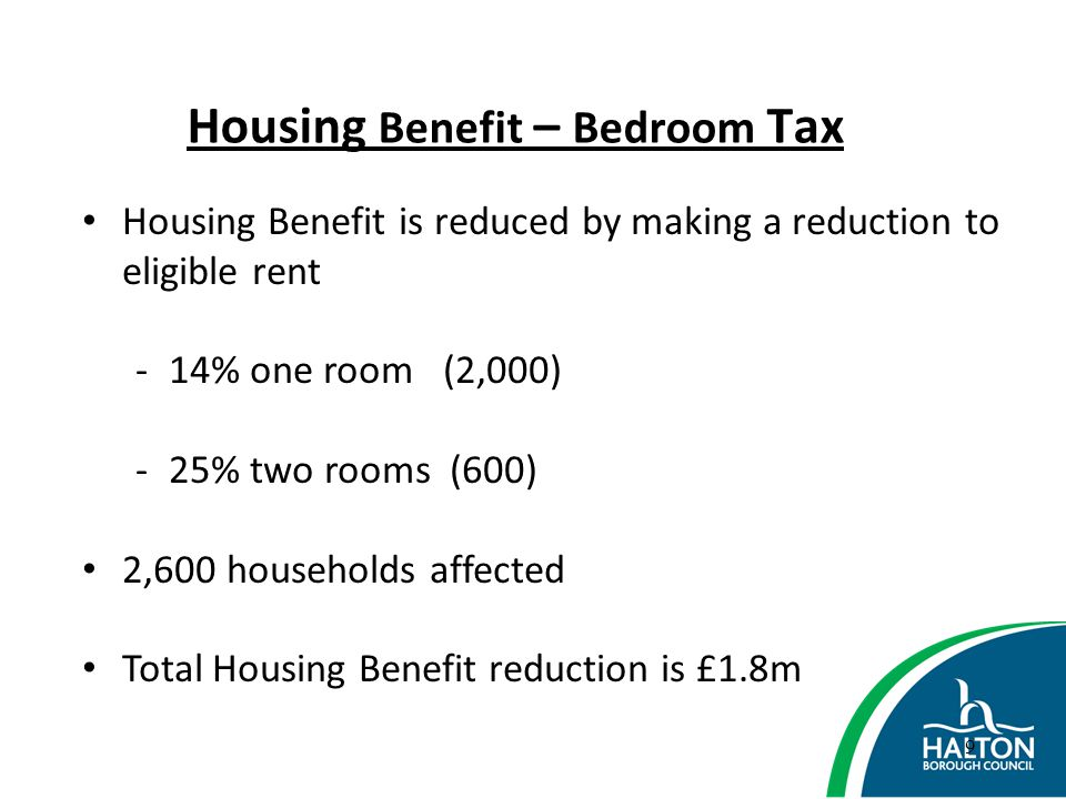 Housing Benefit – Bedroom Tax Exemptions: Temporary accommodation Supported accommodation Claimant or partner qualifies for state pension credit Protections: Recent bereavement – 12 months New claim – 13 weeks 10