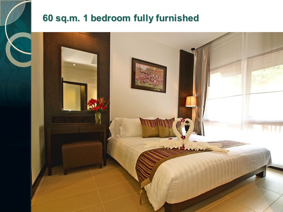 60 sq.m. 1 bedroom fully furnished