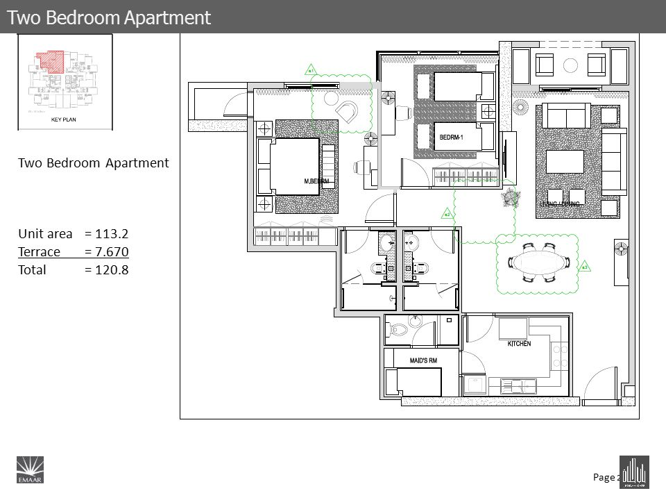 Page 21 Two Bedroom Apartment Unit area= 113.2 Terrace= 7.670 Total = 120.8 Two Bedroom Apartment