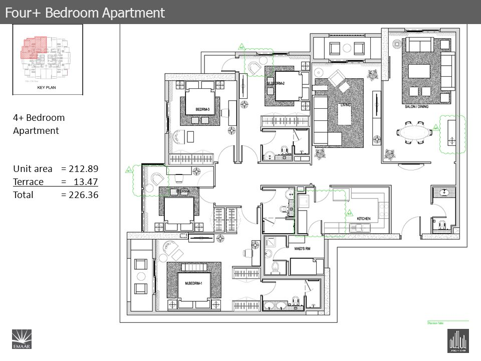 4+ Bedroom Apartment Unit area= 212.89 Terrace= 13.47 Total = 226.36 Four+ Bedroom Apartment
