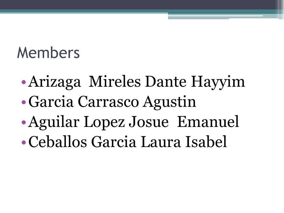 Members Arizaga Mireles Dante Hayyim Garcia Carrasco Agustin Aguilar Lopez Josue Emanuel Ceballos Garcia Laura Isabel