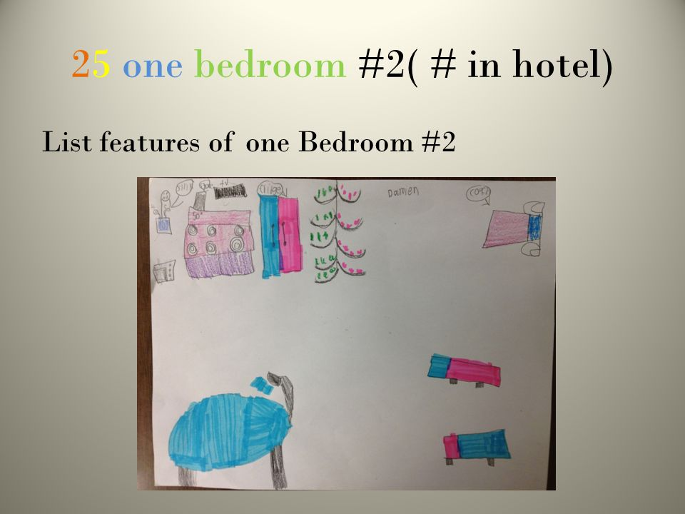 25 one bedroom #2( # in hotel) List features of one Bedroom #2