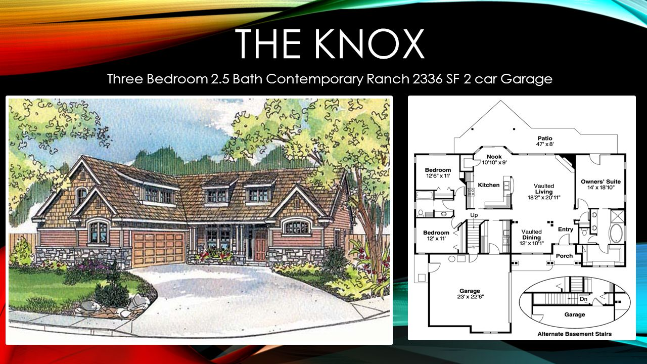 THE KNOX Three Bedroom 2.5 Bath Contemporary Ranch 2336 SF 2 car Garage