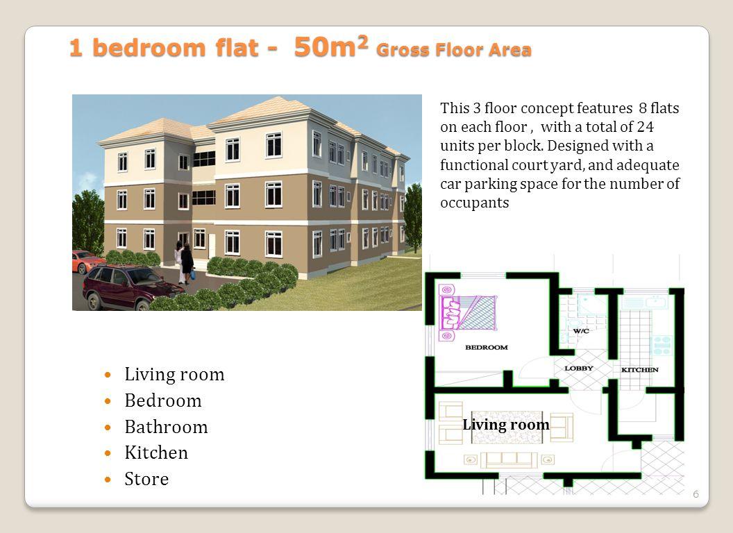 6 Living room Bedroom Bathroom Kitchen Store 1 bedroom flat - 50m 2 Gross Floor Area This 3 floor concept features 8 flats on each floor, with a total of 24 units per block.
