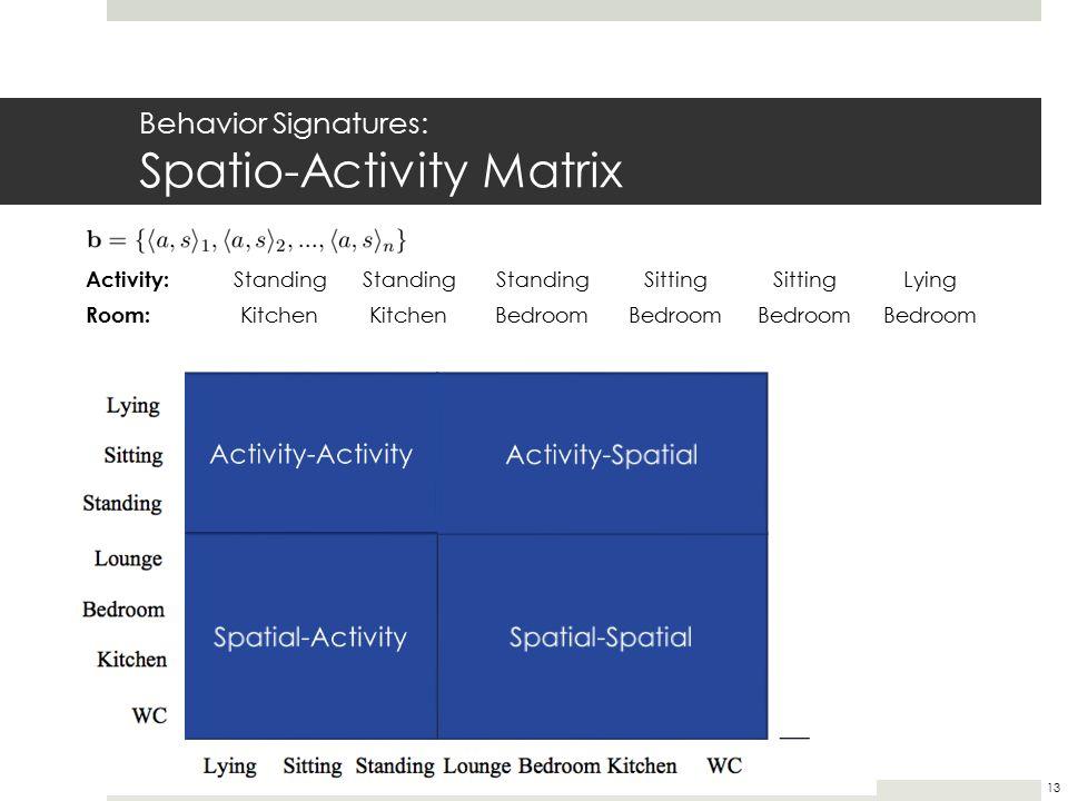 Activity: Standing Sitting Lying Room: Kitchen Bedroom Behavior Signatures: Spatio-Activity Matrix 13