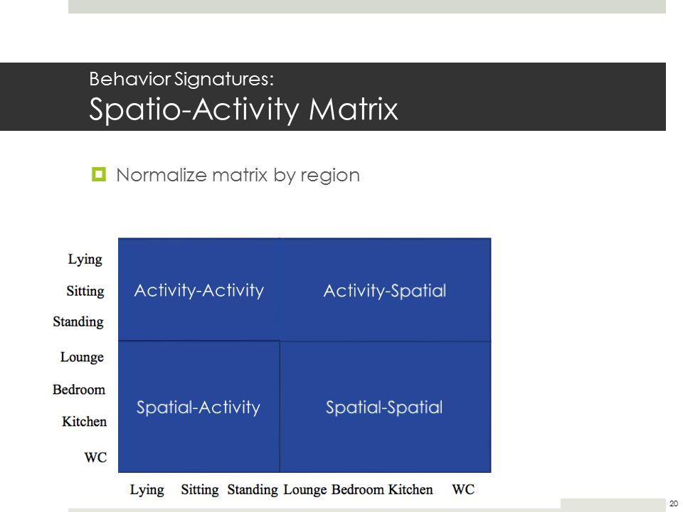 Behavior Signatures: Spatio-Activity Matrix  Normalize matrix by region 20 11 122 1312 1214 212