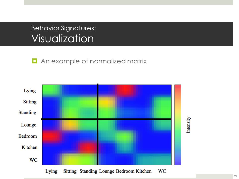 Behavior Signatures: Visualization 21  An example of normalized matrix