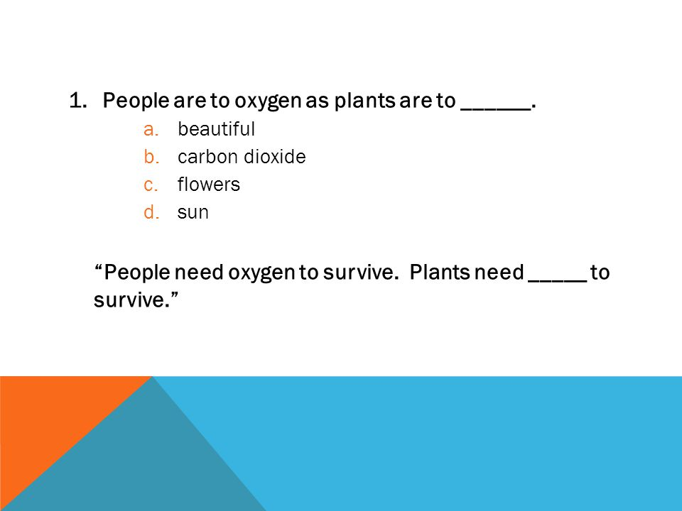 Take a look at the following three slides. Try to solve each analogy on your own first.