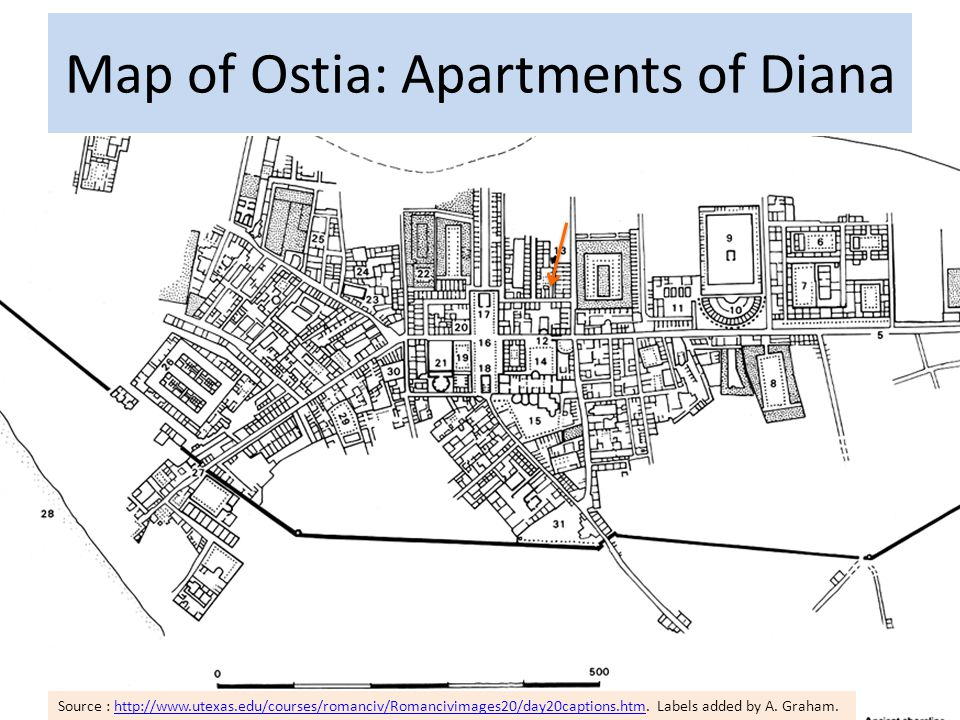 Map of Ostia: Apartments of Diana Source : http://www.utexas.edu/courses/romanciv/Romancivimages20/day20captions.htm.