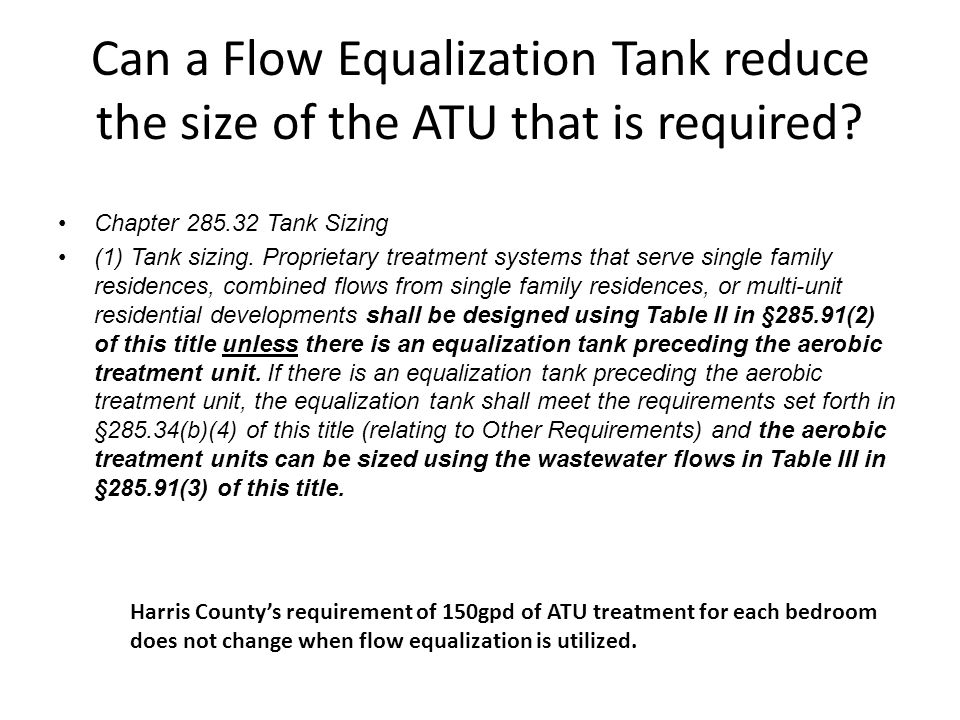 Can a Flow Equalization Tank reduce the size of the ATU that is required.
