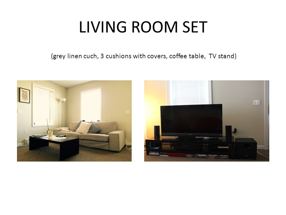 1 GREY LINEN COUCH 3 CUSHIONS + COVERS 1 COFFEE TABLE 1 TV STAND [sound system not included]
