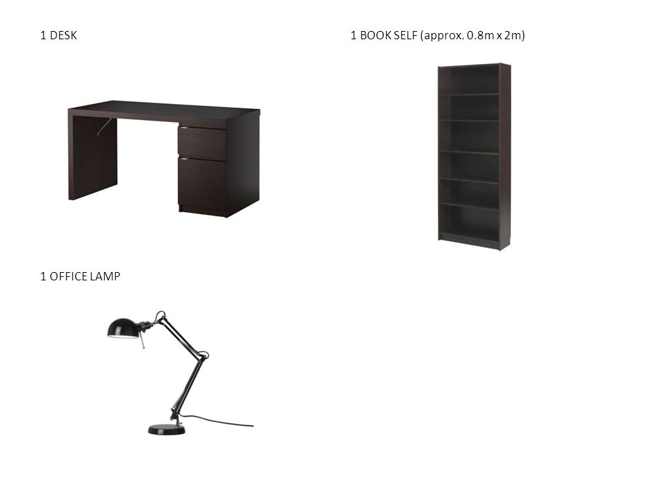 1 DESK 1 BOOK SELF (approx. 0.8m x 2m) 1 OFFICE LAMP