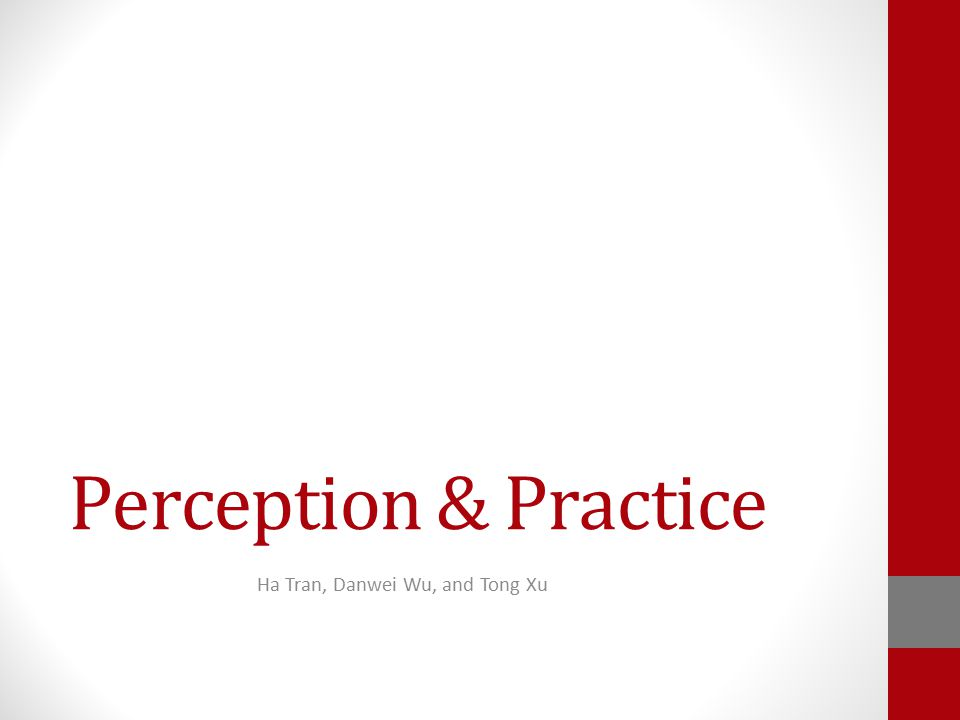 Perception & Practice Ha Tran, Danwei Wu, and Tong Xu