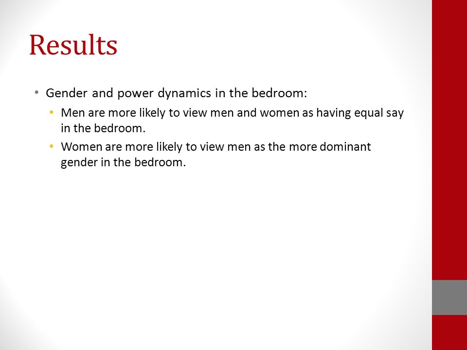 Results Gender and power dynamics in the bedroom: Men are more likely to view men and women as having equal say in the bedroom. Women are more likely