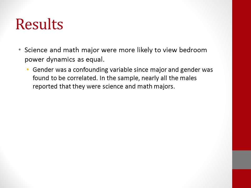 Results Science and math major were more likely to view bedroom power dynamics as equal. Gender was a confounding variable since major and gender was