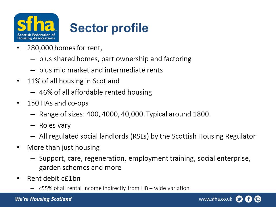 Sector profile 280,000 homes for rent, – plus shared homes, part ownership and factoring – plus mid market and intermediate rents 11% of all housing in Scotland – 46% of all affordable rented housing 150 HAs and co-ops – Range of sizes: 400, 4000, 40,000.