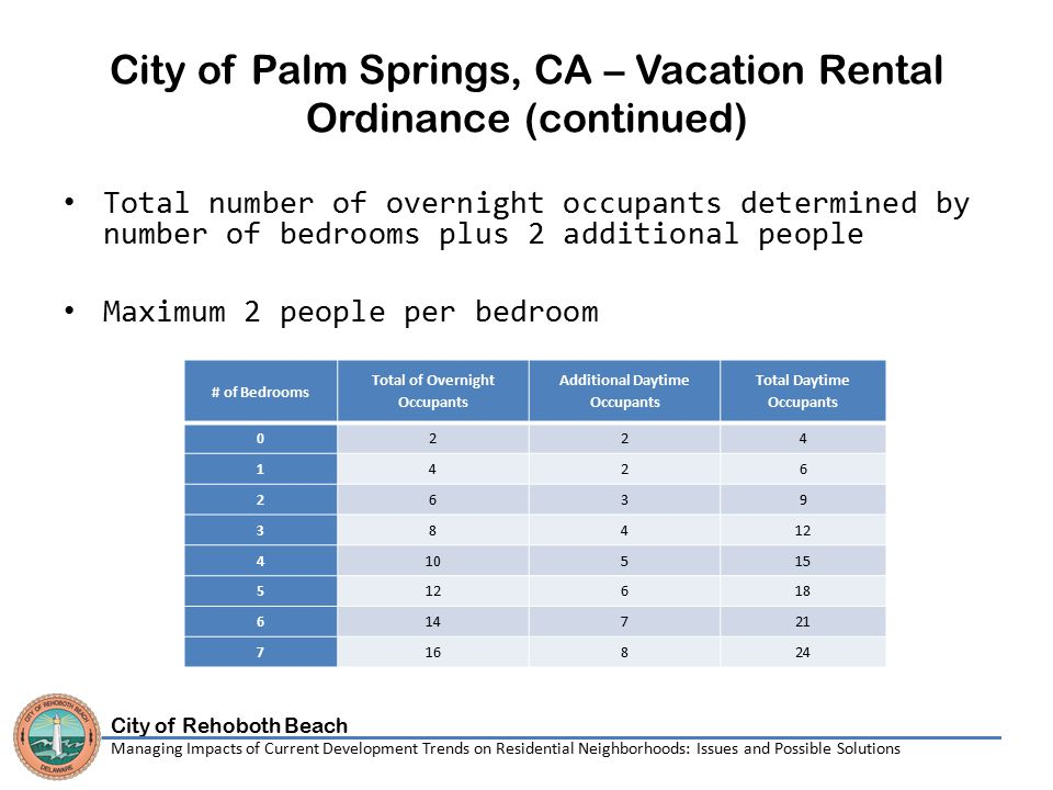 City of Rehoboth Beach Managing Impacts of Current Development Trends on Residential Neighborhoods: Issues and Possible Solutions City of Palm Springs, CA – Vacation Rental Ordinance (continued) Total number of overnight occupants determined by number of bedrooms plus 2 additional people Maximum 2 people per bedroom # of Bedrooms Total of Overnight Occupants Additional Daytime Occupants Total Daytime Occupants 0224 1426 2639 38412 410515 512618 614721 716824