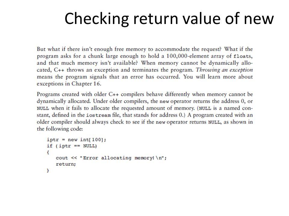 Checking return value of new