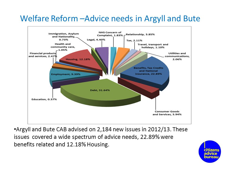 Welfare Reform –Advice needs in Argyll and Bute Argyll and Bute CAB advised on 2,184 new issues in 2012/13.
