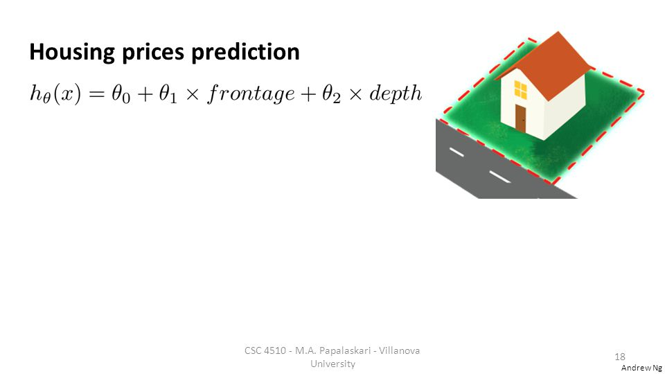 Andrew Ng Housing prices prediction CSC 4510 - M.A. Papalaskari - Villanova University 18
