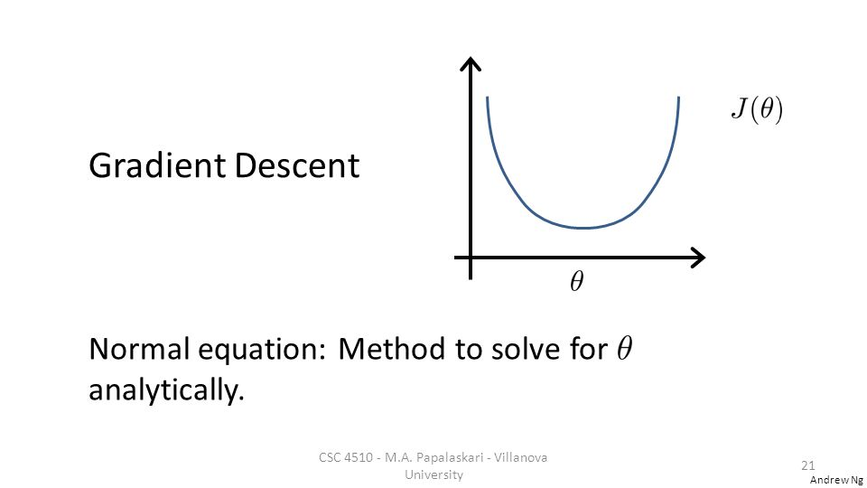 Andrew Ng Gradient Descent Normal equation: Method to solve for analytically.