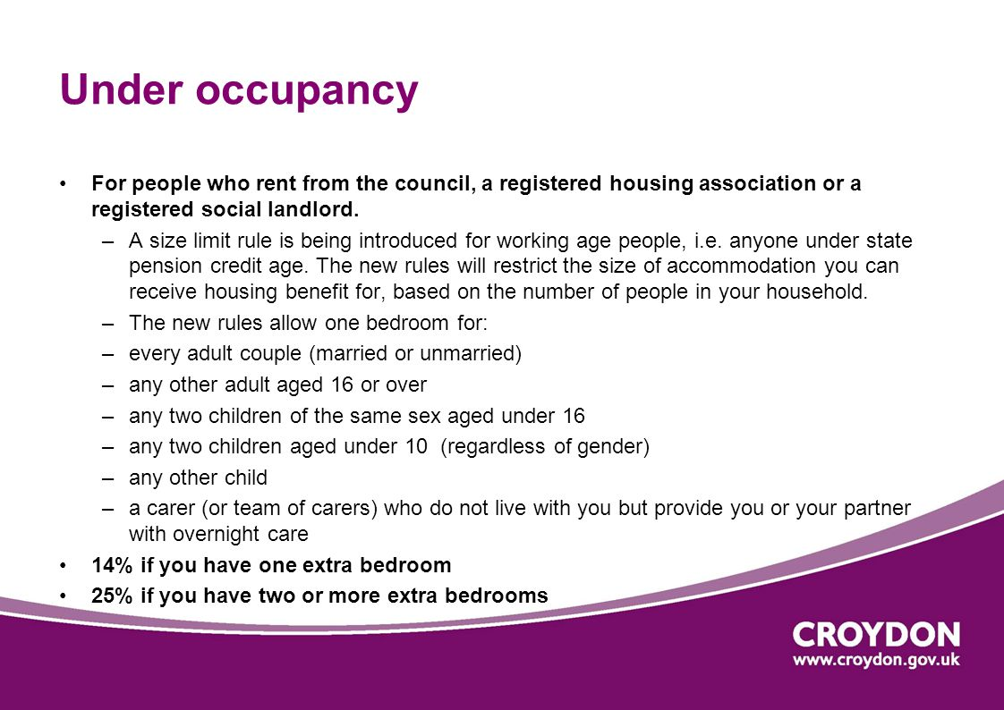 Under occupancy For people who rent from the council, a registered housing association or a registered social landlord.