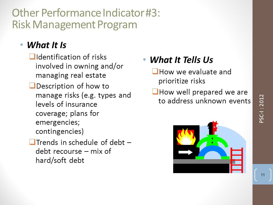 Other Performance Indicator #3: Risk Management Program What It Is  Identification of risks involved in owning and/or managing real estate  Description of how to manage risks (e.g.