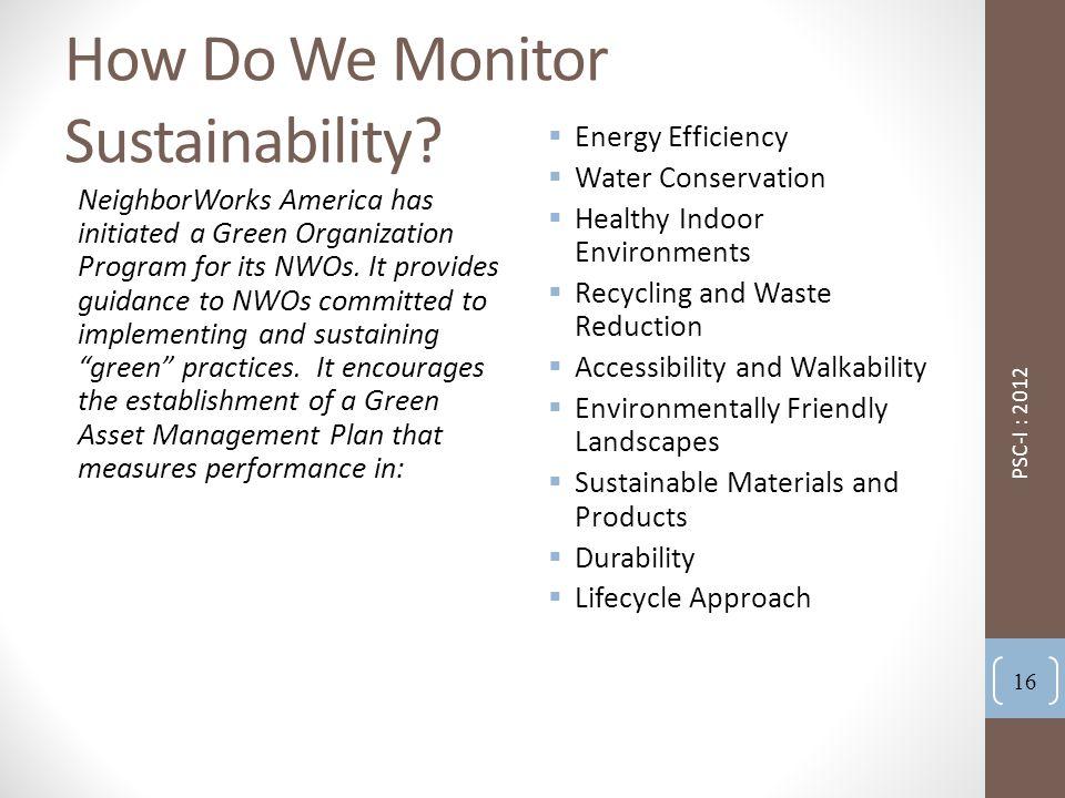 How Do We Monitor Sustainability.
