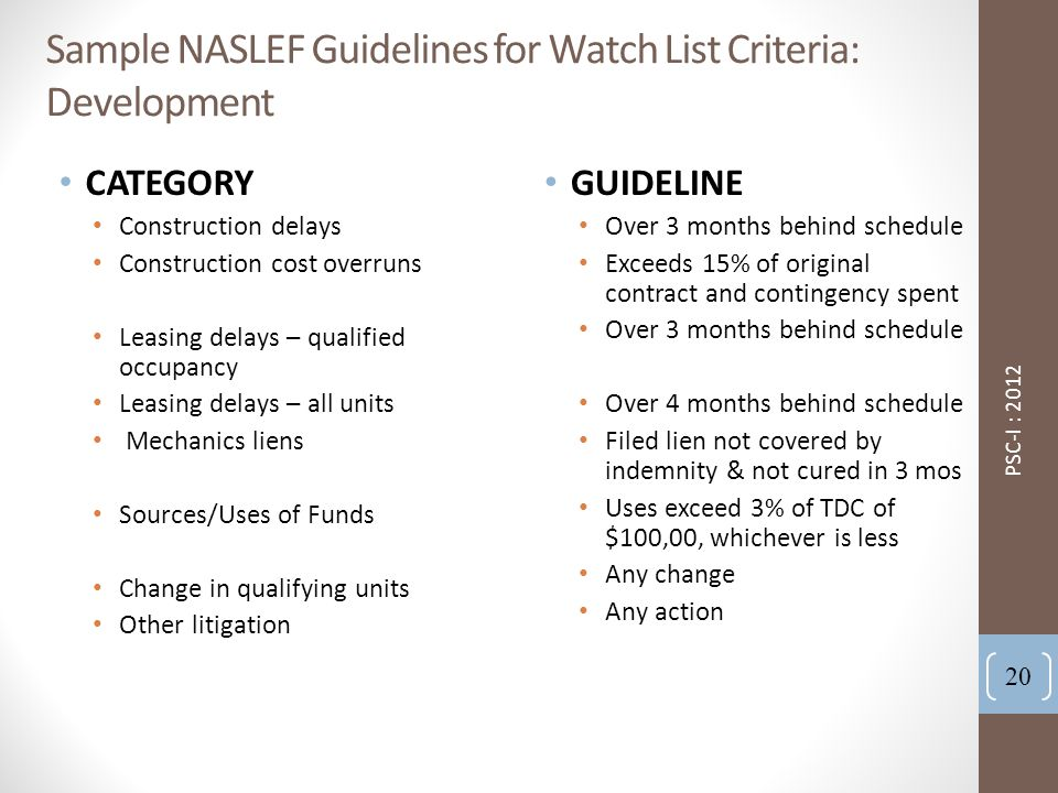 Sample NASLEF Guidelines for Watch List Criteria: Development CATEGORY Construction delays Construction cost overruns Leasing delays – qualified occupancy Leasing delays – all units Mechanics liens Sources/Uses of Funds Change in qualifying units Other litigation GUIDELINE Over 3 months behind schedule Exceeds 15% of original contract and contingency spent Over 3 months behind schedule Over 4 months behind schedule Filed lien not covered by indemnity & not cured in 3 mos Uses exceed 3% of TDC of $100,00, whichever is less Any change Any action 20 PSC-I : 2012