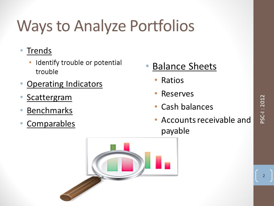 Ways to Analyze Portfolios Trends Identify trouble or potential trouble Operating Indicators Scattergram Benchmarks Comparables Balance Sheets Ratios Reserves Cash balances Accounts receivable and payable PSC-I : 2012 2