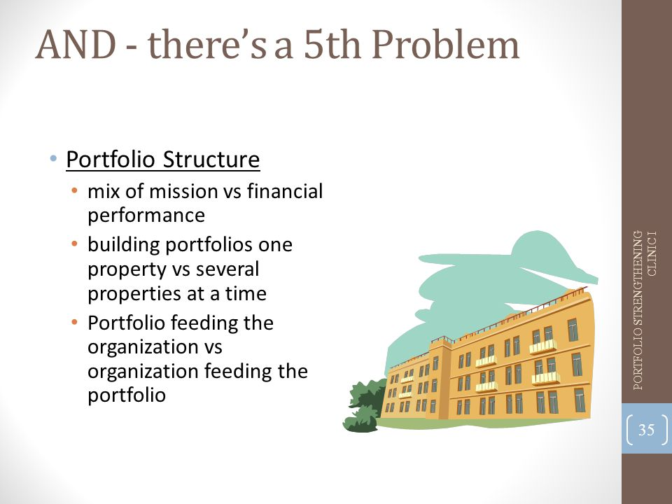 AND - there's a 5th Problem Portfolio Structure mix of mission vs financial performance building portfolios one property vs several properties at a time Portfolio feeding the organization vs organization feeding the portfolio 35 PORTFOLIO STRENGTHENING CLINIC I
