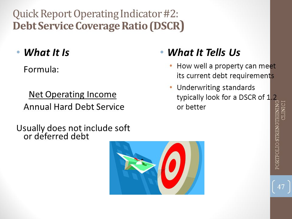 Quick Report Operating Indicator #2: Debt Service Coverage Ratio (DSCR ) What It Is Formula: Net Operating Income Annual Hard Debt Service Usually does not include soft or deferred debt What It Tells Us How well a property can meet its current debt requirements Underwriting standards typically look for a DSCR of 1.2 or better 47 PORTFOLIO STRENGTHENING CLINIC I