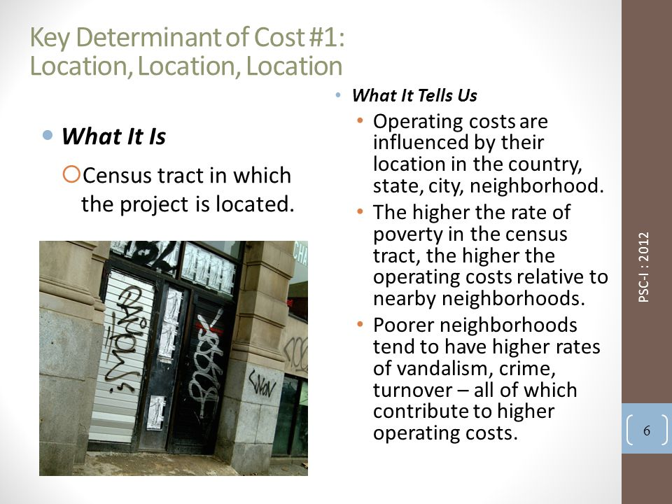 Key Determinant of Cost #1: Location, Location, Location What It Is  Census tract in which the project is located.