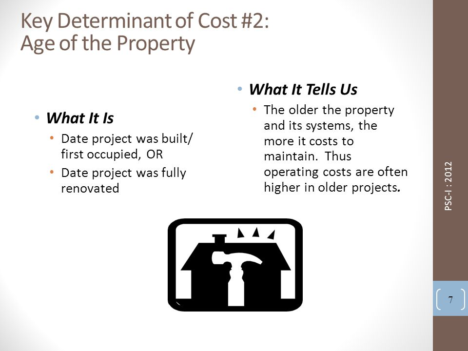 Key Determinant of Cost #2: Age of the Property What It Is Date project was built/ first occupied, OR Date project was fully renovated What It Tells Us The older the property and its systems, the more it costs to maintain.