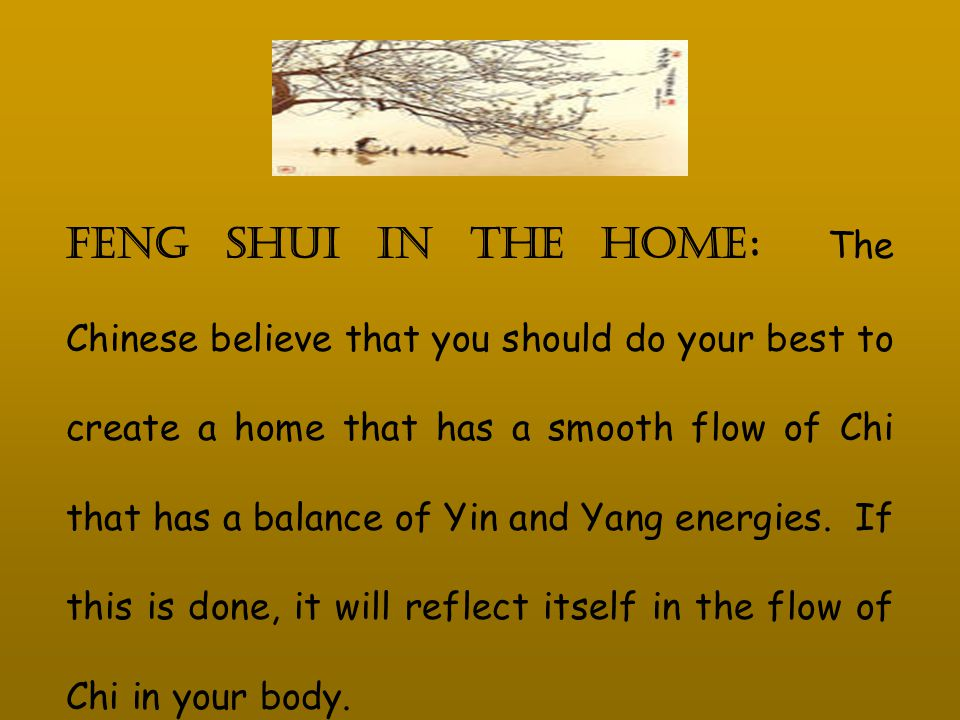 Feng shui in the Home : The Chinese believe that you should do your best to create a home that has a smooth flow of Chi that has a balance of Yin and Yang energies.