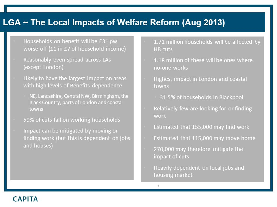 LGA ~ The Local Impacts of Welfare Reform (Aug 2013) 1.71 million households will be affected by HB cuts 1.18 million of these will be ones where no-o