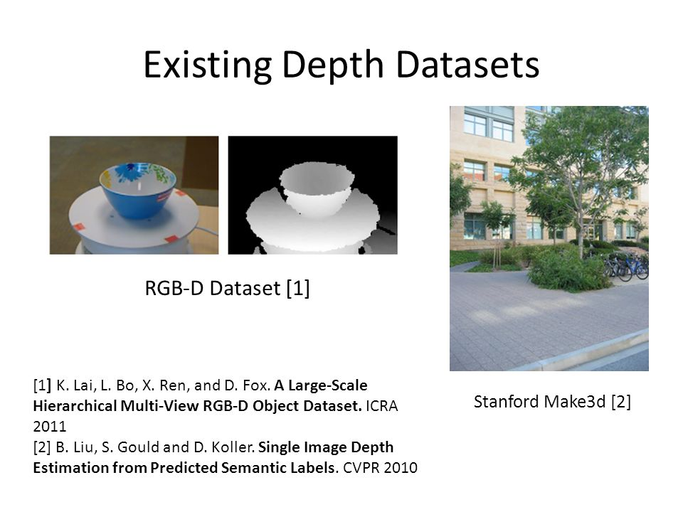 Existing Depth Datasets [1] K.Lai, L. Bo, X. Ren, and D.