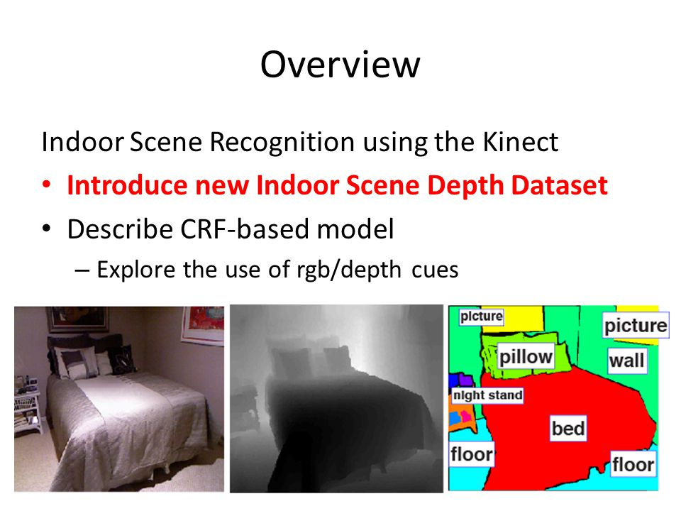 Overview Indoor Scene Recognition using the Kinect Introduce new Indoor Scene Depth Dataset Describe CRF-based model – Explore the use of rgb/depth cues