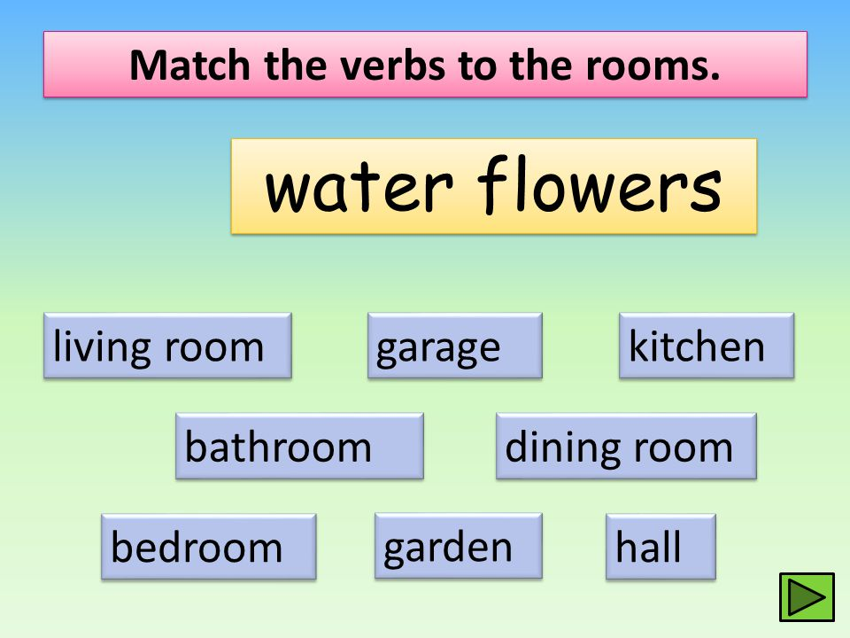 Match the verbs to the rooms. water flowers living room dining room kitchen bathroom bedroom hall garage garden
