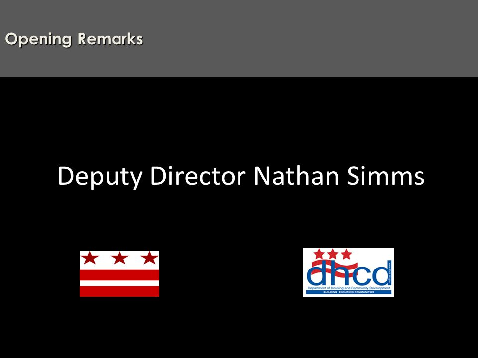 Deputy Director Nathan Simms Opening Remarks