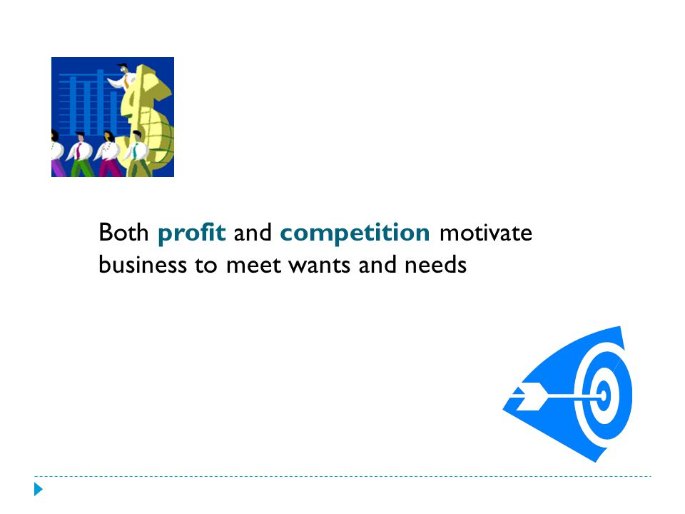 Both profit and competition motivate business to meet wants and needs