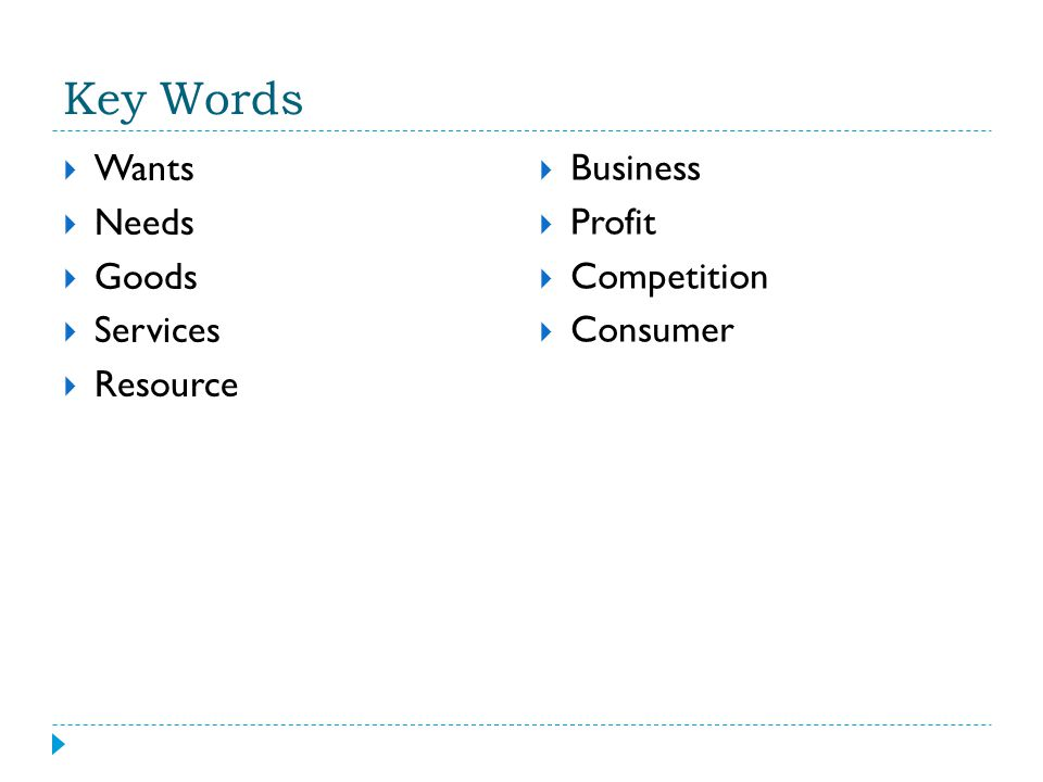 Key Words  Wants  Needs  Goods  Services  Resource  Business  Profit  Competition  Consumer