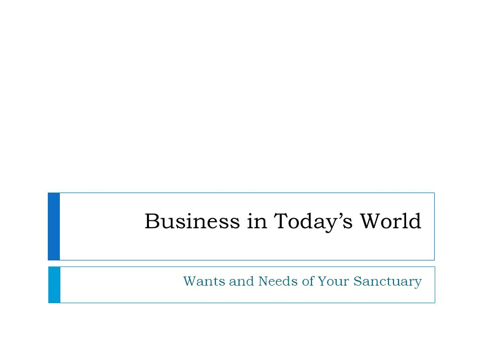 Business in Today's World Wants and Needs of Your Sanctuary