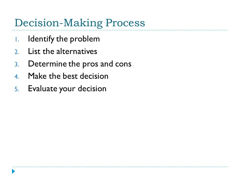 Decision-Making Process 1.Identify the problem 2.