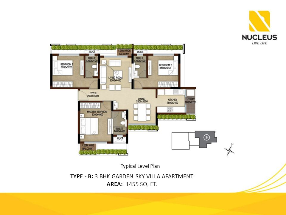 TYPE - B: 3 BHK GARDEN SKY VILLA APARTMENT AREA: 1455 SQ. FT. Typical Level Plan