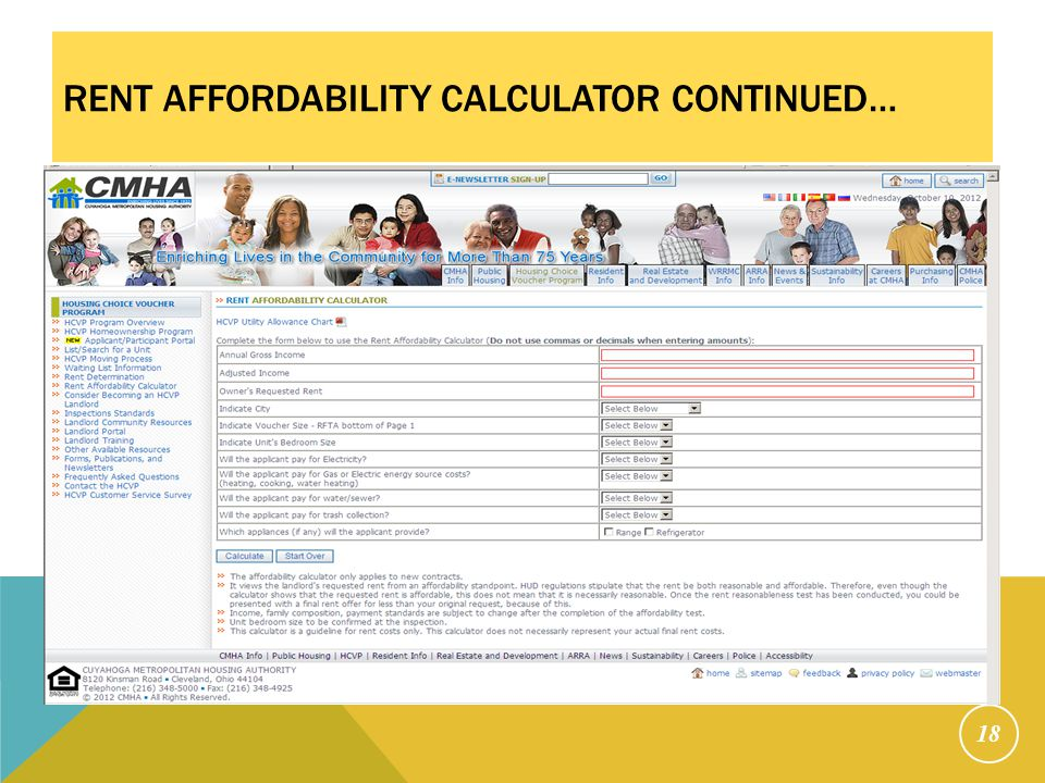 RENT AFFORDABILITY CALCULATOR CONTINUED… 18