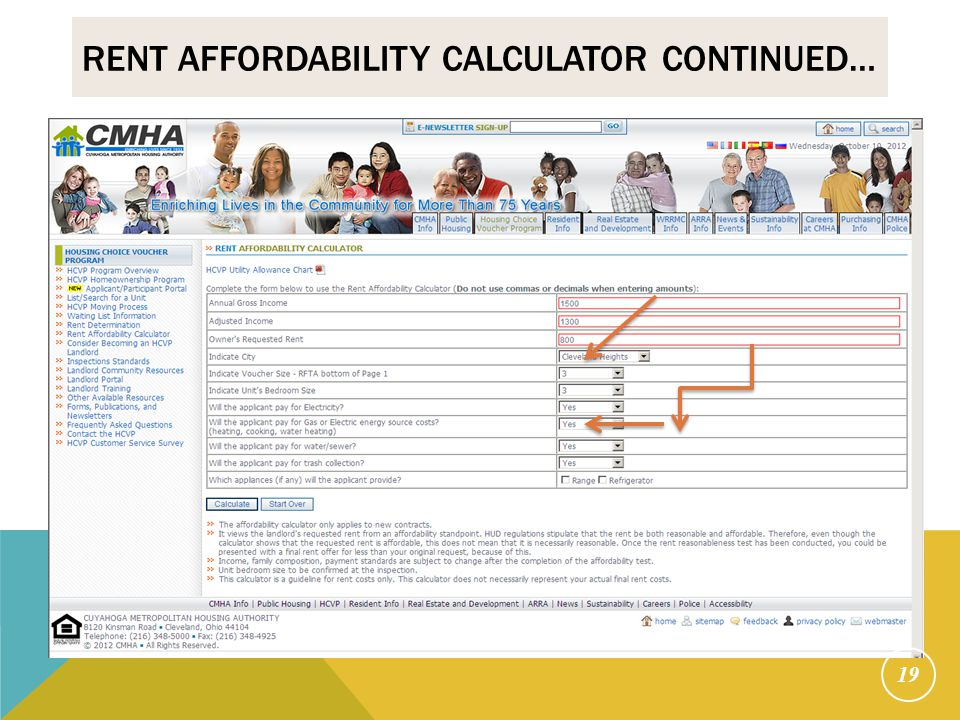 RENT AFFORDABILITY CALCULATOR CONTINUED… 19